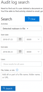 Office 365 audit log search malware found