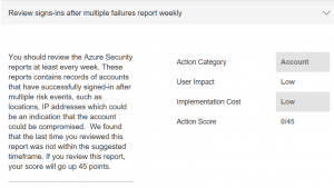 Secure Score review Azure sign-in's