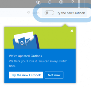 Toggle, Outlook, Microsoft, new Outlook for the web