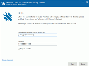 o365 support and recovery assistant